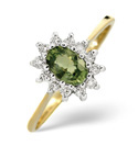 9K Yellow Gold 0.18Ct Diamond, Green Sapphire Ring From Catalina Diamonds Y2126