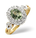 9K Yellow Gold 0.06Ct Diamond, Green Sapphire Ring From Catalina Diamonds Y2130