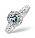 9K White Gold 0.12Ct Diamond, Blue Topaz Ring From Catalina Diamonds C2628