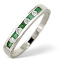 9K White Gold 0.09Ct Diamond, Emerald Ring From Catalina Diamonds C1537