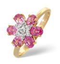 9K Yellow Gold 0.04Ct Diamond, Pink Sapphire Ring From Catalina Diamonds C3177