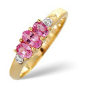 9K Yellow Gold 0.01Ct Diamond, Pink Sapphire Ring From Catalina Diamonds C3164
