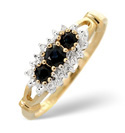 9K Yellow Gold 0.02Ct Diamond, Sapphire Ring From Catalina Diamonds C3167