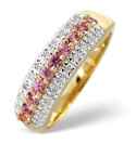 9K Yellow Gold 0.1Ct Diamond, Pink Sapphire Ring From Catalina Diamonds C3126