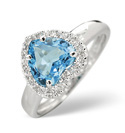 9K White Gold 0.1Ct Diamond, Blue Topaz Ring From Catalina Diamonds C2622