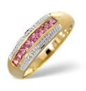 9K Yellow Gold 0.19Ct Diamond, Pink Sapphire Ring From Catalina Diamonds C3107