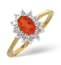 9K Yellow Gold 0.18Ct Diamond, Fire Opal Ring From Catalina Diamonds Y1309