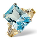 9K Yellow Gold Diamond, Blue Topaz Ring From Catalina Diamonds Y1223