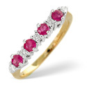 9K Yellow Gold 0.15Ct Diamond, Ruby Ring From Catalina Diamonds Y1172