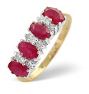 9K Yellow Gold 0.14Ct Diamond, Ruby Ring From Catalina Diamonds Y1189