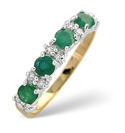 9K Yellow Gold 0.14Ct Diamond, Emerald Ring From Catalina Diamonds Y1125