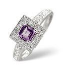 9K White Gold 0.13Ct Diamond, Amethyst Ring From Catalina Diamonds C2623