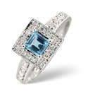 9K White Gold 0.13Ct Diamond, Blue Topaz Ring From Catalina Diamonds C2624