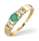 9K Yellow Gold 0.1Ct Diamond, Emerald Ring From Catalina Diamonds Y1916