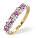 9K Yellow Gold 0.15Ct Diamond, Pink Sapphire Ring From Catalina Diamonds Y1906