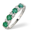 9K White Gold 0.14Ct Diamond, Emerald Ring From Catalina Diamonds Y1853