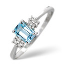 9K White Gold 0.06Ct Diamond, Blue Topaz Ring From Catalina Diamonds Y1875