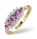 9K Yellow Gold 0.12Ct Diamond, Pink Sapphire Ring From Catalina Diamonds Y1898