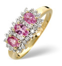 9K Yellow Gold 0.23Ct Diamond, Pink Sapphire Ring From Catalina Diamonds C3180