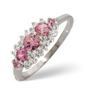 9K White Gold 0.12Ct Diamond, Pink Sapphire Ring From Catalina Diamonds Y1899