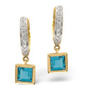 9K Yellow Gold 0.2Ct Diamond, Blue Topaz Earrings From Catalina Diamonds F2078