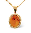 9K Yellow Gold Amber Necklace From Catalina Diamonds Z1174