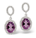 9K White Gold 0.18Ct Diamond, Amethyst Earrings From Catalina Diamonds F2027