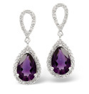 9K White Gold 0.21Ct Diamond, Amethyst Earrings From Catalina Diamonds F2025