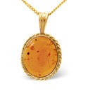 9K Yellow Gold Amber Necklace From Catalina Diamonds Z1177