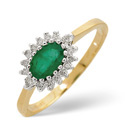 9K Yellow Gold 0.14Ct Diamond, Emerald Ring From Catalina Diamonds Y1084