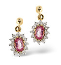 9K Yellow Gold 0.25Ct Diamond, Pink Sapphire Earrings From Catalina Diamonds F2056