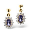 9K Yellow Gold 0.25Ct Diamond, Tanzanite Earrings From Catalina Diamonds F2055