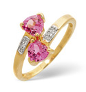 9K Yellow Gold 0.01Ct Diamond, Created Pink Sapphire Ring From Catalina Diamonds C3040