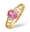 9K Yellow Gold 0.01Ct Diamond, Created Pink Sapphire Ring From Catalina Diamonds C3044