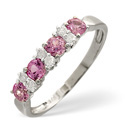 9K White Gold 0.09Ct Diamond, Pink Sapphire Ring From Catalina Diamonds C3331