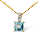 9K Yellow Gold 0.02Ct Diamond, Blue Topaz Necklace From Catalina Diamonds E2600