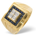 9K Yellow Gold 0.06Ct Diamond, Sapphire Ring From Catalina Diamonds D1098