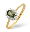 9K Yellow Gold 0.08Ct Diamond, Green Sapphire Ring From Catalina Diamonds Y2128
