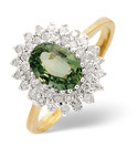 9K Yellow Gold 0.3Ct Diamond, Green Sapphire Ring From Catalina Diamonds Y2129