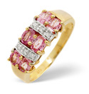 9K Yellow Gold 0.03Ct Diamond, Pink Sapphire Ring From Catalina Diamonds C2774