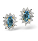 9K Yellow Gold 0.09Ct Diamond, Blue Topaz Earrings From Catalina Diamonds F2075