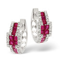 9K White Gold 0.42Ct Diamond, Ruby Earrings From Catalina Diamonds F1775