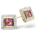 9K Yellow Gold 0.05Ct Diamond, Pink Sapphire Earrings From Catalina Diamonds F2046