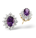 9K Yellow Gold 0.07Ct Diamond, Amethyst Earrings From Catalina Diamonds Z1092