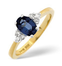 18K Yellow Gold 0.12Ct Diamond, Sapphire Ring From Catalina Diamonds L1659