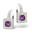 9K White Gold 0.18Ct Diamond, Amethyst Earrings From Catalina Diamonds F1874