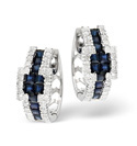 9K White Gold 0.42Ct Diamond, Sapphire Earrings From Catalina Diamonds F1773