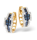 9K Yellow Gold 0.42Ct Diamond, Sapphire Earrings From Catalina Diamonds F1772