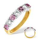 9K Yellow Gold 0.09Ct Diamond, Pink Sapphire Ring From Catalina Diamonds C3364