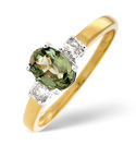 18K Yellow Gold 0.2Ct Diamond, Green Sapphire Ring From Catalina Diamonds L1702